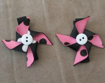 Pinwheel Ribbon Hair Clips