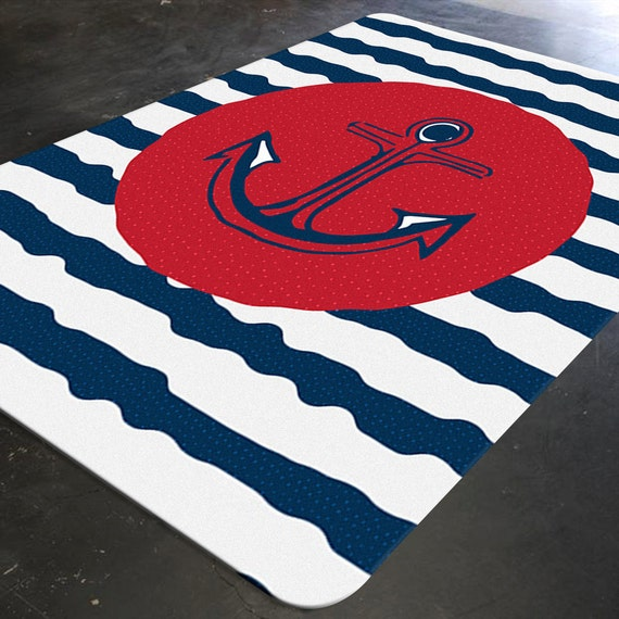 Nautical Decor Nautical Rug Nautical Nursery Anchor Decor