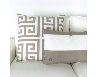 1 pillowcase CABANA block stripe striped stripes white sand 40 x 60 cm