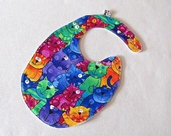 Toddler Bib , happy cats bib, bright multicolored bib , fits infant to 2 years plus,  cotton baby bib