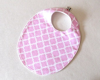 Pink Bib , Toddler Bib , cotton flannel bib , fits infant to 2 years plus, cotton baby bib, unique baby gift, baby girl bib