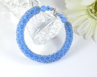 Frosty Blue Glass Bead Memory Wire Bracelet