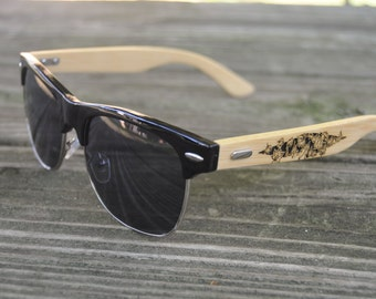 Wood-Burned Wire-Rimmed Sunglasses (Black Frames) by Eyes On Fire