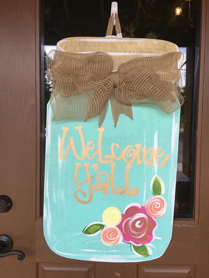 Mason Jar Door Hanger Welcome Door Hanger Welcome Wreath