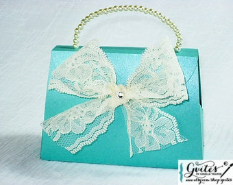 Large wedding purse favor boxes, handmade paper purse, elegant favor gift boxes, purse party favor, gift box, Other Colors Available!