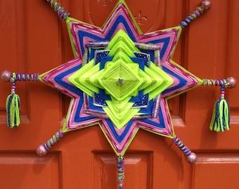 "18"" Mandala STAR Woven Yarn Art - Ojo de Dios Wall Hanging - Lime Berry Star"