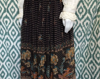 Floral fantasy boho 1970's vintage silk organza skirt