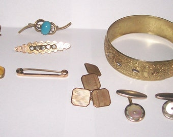 Mixed Lot Victorian Art Deco Rolled Gold Filled Jewellery