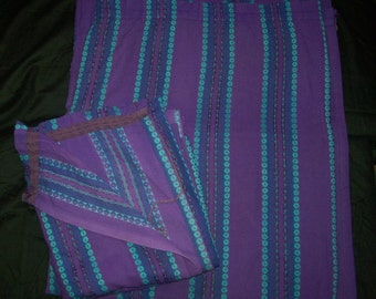 """1960s Pair of Vibrant Purple,Turquiose Woven Repeat Pattern Curtains W86"""" D55"""""""