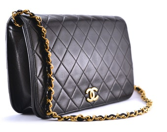 Vintage CHANEL Quilted 2.55 Lambskin Black Full Flap Bag. Retail 2000usd