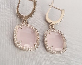 Sterling Silver Earrings ,Silver Earrings, Rose Quartz Earrings,Zircon Earrings