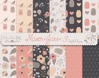 Mason Jars and Flowers 3 Coral {Digital Papers}