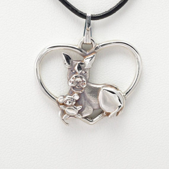 Sterling silver boston terrier pendant w 18 by for Just my style personalized jewelry studio