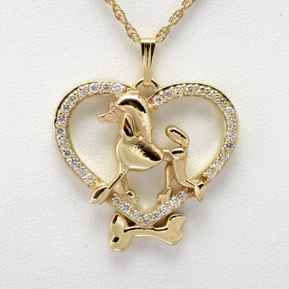 14kt gold and poodle pendant with by