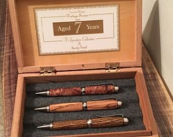 Nice Black Wood Cigar Box Pen Box- Repurposed Pen Case Fountain Pen Storage Case - 3 Pens