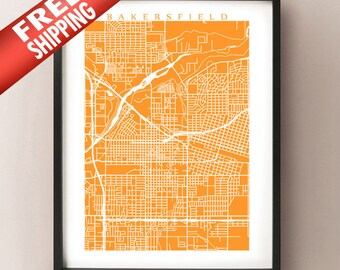 Bakersfield Map Print - California Poster