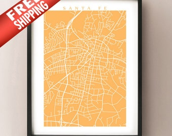 Santa Fe Map Art - New Mexico Poster