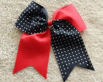 Cheer Bow/ Cheerleader Bow/ Cheerleading Bow/ Cheerleader Gift/ Hair Bow/ Bow/ Half Rhinestone Red and Black Cheer Bow Cheerleader Cheer