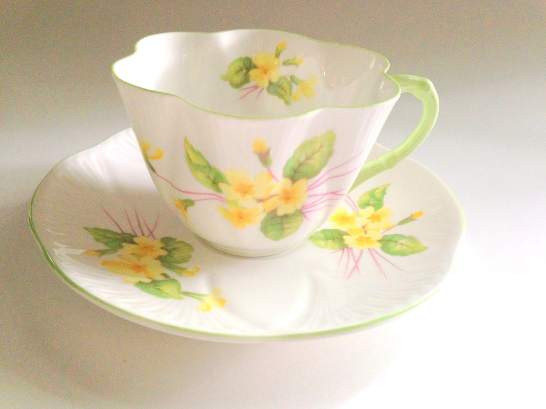 primrose shelley tea cup and saucer antique teacups dainty. Black Bedroom Furniture Sets. Home Design Ideas