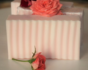Pink Rose Soap - Handmade Glycerin and Shea Butter Soap Bar - Rose Soap - Gentle Glycerin Soap - Gift for Her