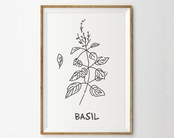 Basil print - Kitchen Art Print- Herb print - Botanical print - Garden print - Spring art - Monochrome - Digital print