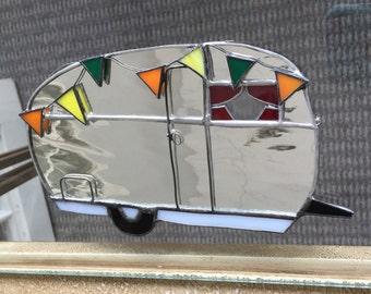 Camper Trailer RV Airstream Stained Glass Suncatcher