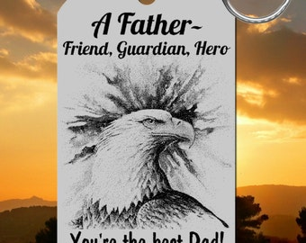 Fathers Day Keychain Gift, Personalized FREE with all names! Dad Friend, Eagle Hero