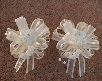 GIRLS WHITE Bow or IVORY organza and satin ribbon one pair #022 with metal barrette,Hair Bows, Christening, Baptism, Communion, Flower Girl