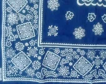 Vintage Blue Cotton Bandana