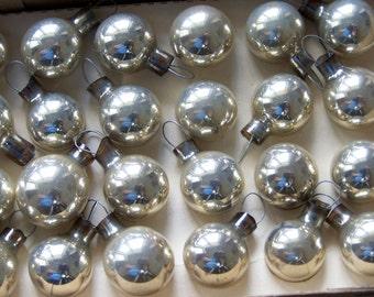 Vintage Christmas Miniature Ornaments Silver Mercury Glass NOS