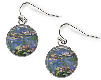 WATERLILIES Claude Monet - Glass Picture Earrings - Silver Plated (Art Print N1)