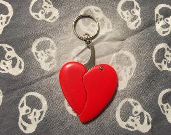 Red Broken Heart Pocket Knife Keychain