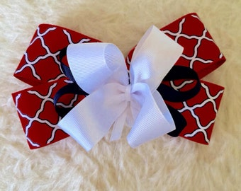 4th of July Hair Bow - Large Red White Blue Hair Bow - Red Geo Medallion-  Red Lattice Bow