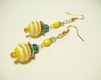 Yellow stripe earrings, yellow and green earrings, yellow dangle earrings, stripe earrings, cute earrings, gift for her, gift under 10,