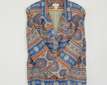 Silk Blazer 80's Ethnic Geometric Aztec Southwestern  Print Bogari Brand Women's Large