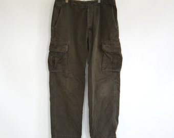 J. Crew Vintage Button Fly Cargo Pants Green Khaki Weathered and Wonderful Normcore 90's Vibe Men's Size 33/32