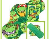 """TMNT 10"""" Velour Cloth Menstrual Pad - Mama Cloth - Ninja Turtles"""