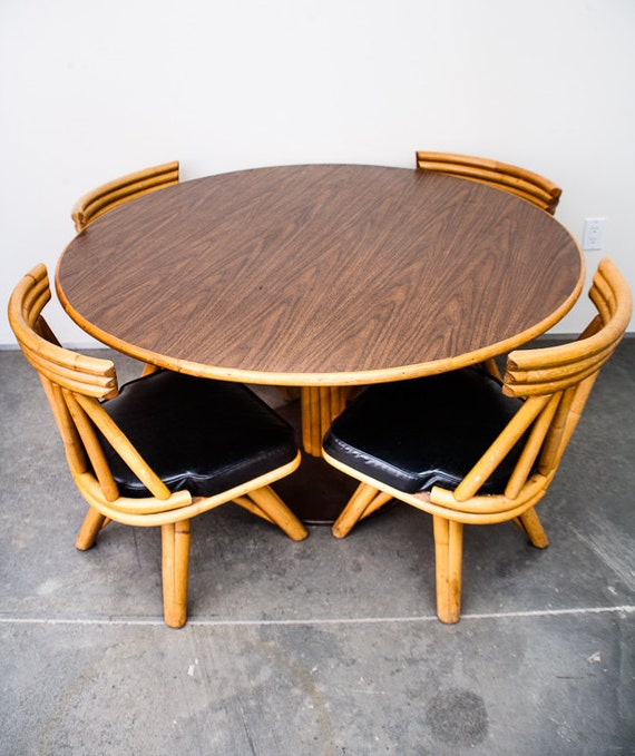 Mid century modern dining table set rattan by for Modern rattan dining chairs