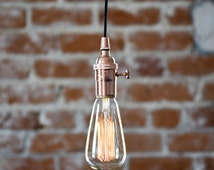 Industrial Plug In Pendant Light Copper Bare Bulb Socket Edison Bulb with Plug or Canopy Rayon Cloth Covered Black Brown White Zig Zag Wire