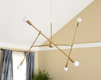 Free Shipping! Large Modern Chandelier Gold Three Arm Sputnik Bulb Brass Plug In or Canopy Edison Industrial Hanging Light Lighting Modern