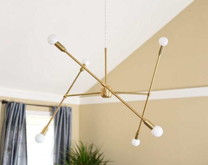 Free Shipping! Large Modern Chandelier Gold Three Arm Sputnik Bulb Brass Plug In or Canopy Edison Industrial Hanging Light Lighting Modern