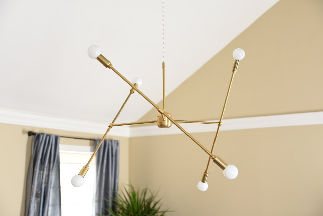 Free shipping large modern chandelier gold three arm sputnik bulb large modern chandelier gold three arm sputnik bulb brass plug in or canopy edison industrial hanging light lighting modern aloadofball Gallery