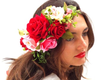 Red Roses crown, Pink hair wreath, Custom Flower Headband, Bohemian Bridal, Corona flores,Valentines day gift