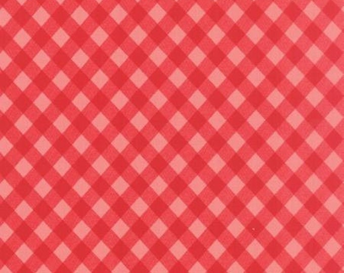 Vintage Picnic Floral Check Pink Red - 1/2yd