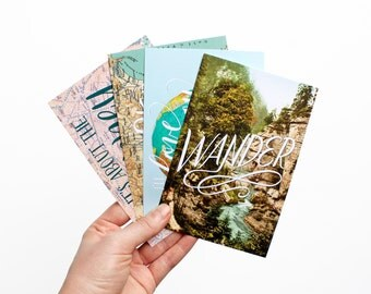 SET OF 4 Postcards - 4x6 Postcard Vintage Map Globe Landscape Print Hand Lettering Travel Wanderlust
