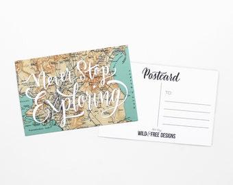 4x6 Postcard Never Stop Exploring Vintage Map Print Hand Lettering Travel Wanderlust Greece Postcard