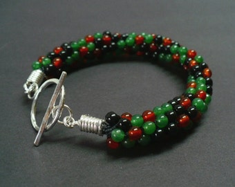 Black Onyx, Green Aventurine and Carnelian Bracelet