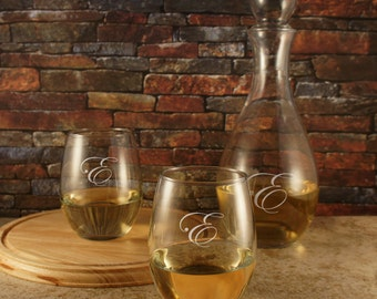 Mr. & Mrs. Wine Gift Set: Monogrammed Stemless Wine Glasses with Optional Personalized Wine Carafe with Stopper (Red or White Options Below)