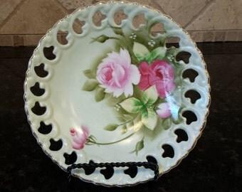"Lefton Green Heritage Pink Roses Candy Bowl Pierced Lattice Edge 7 1/4"" D # 2274"