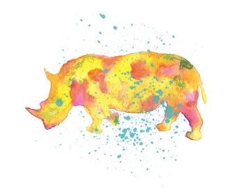 Rhino Watercolor Print, Rhino Painting, Watercolor Art, Animal Art, Nursery Art Print, Wall Art Print, Watercolor Painting , Home Decor